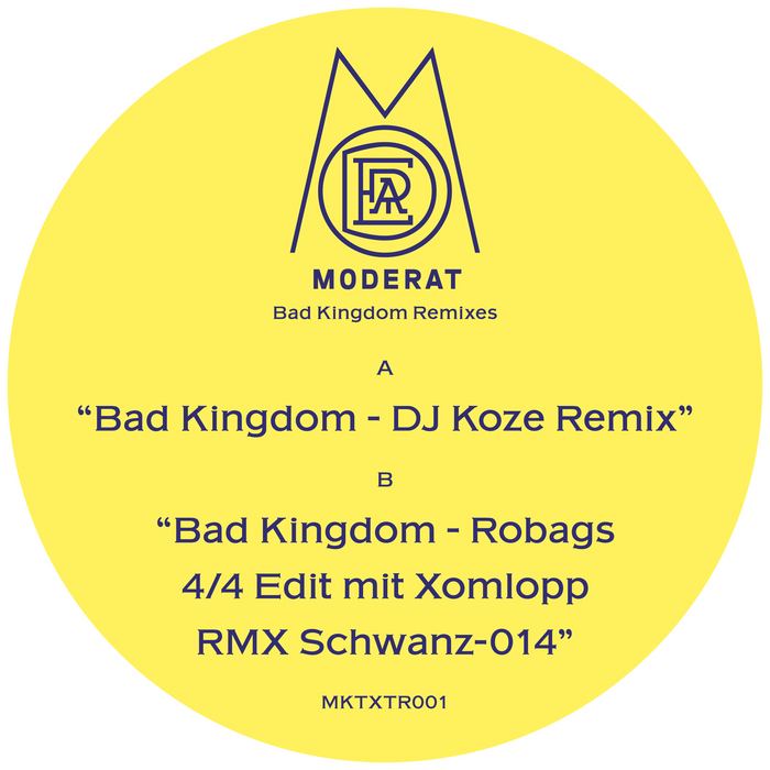 Moderat - Bad Kingdom (DJ Koze Remix & Robag Wruhme Edit) [Monkeytown Records MKTXTR 001] (27 June, 2014)